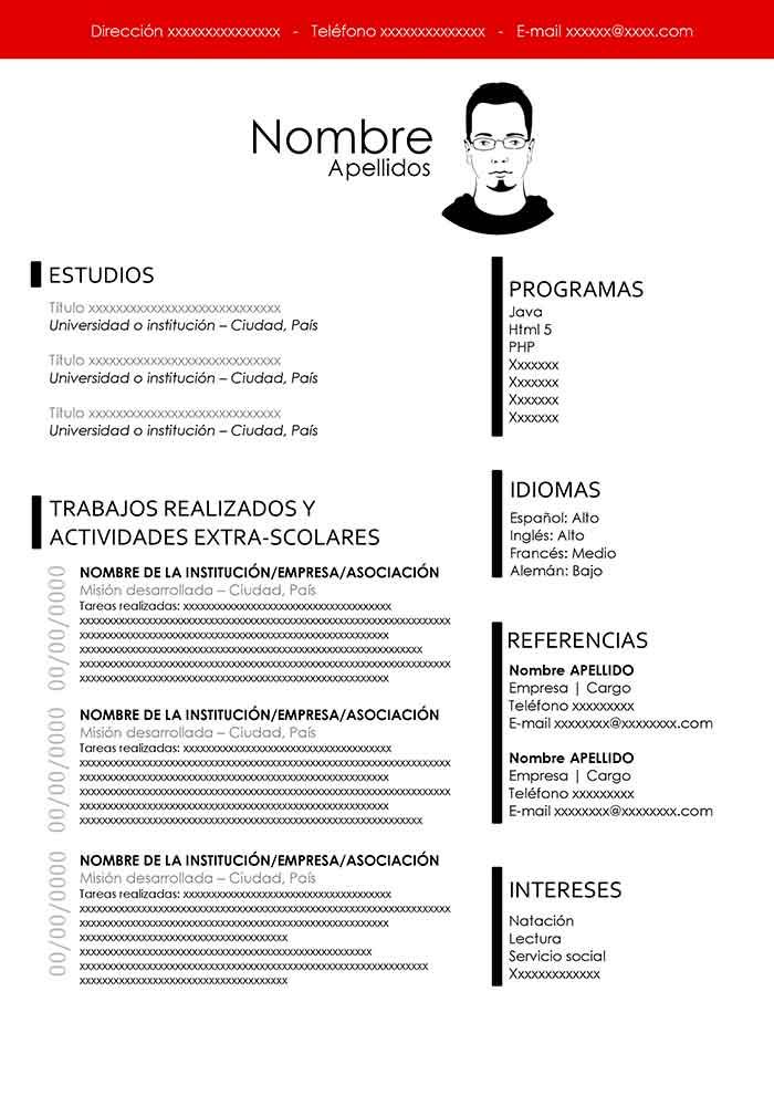 Currículum Blanco Modelos De Curriculum 10